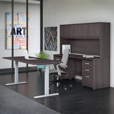 Bush Studio C 72W x 30D Height Adj Standing Desk, Credenza & Storage, Storm Gray STC016SG ; UPC: 042976071660 ; Image 2