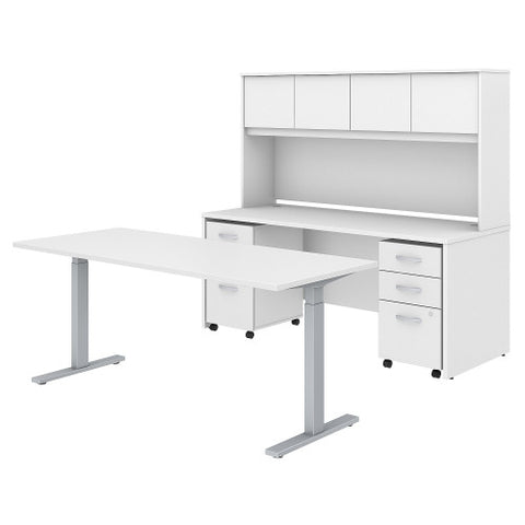 Bush Studio C 72W x 30D Height Adj Standing Desk, Credenza & Storage, White STC016WH ; UPC: 042976071646 ; Image 1