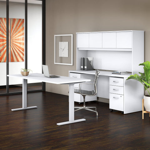 Bush Studio C 72W x 30D Height Adj Standing Desk, Credenza & Storage, White STC016WH ; UPC: 042976071646 ; Image 2