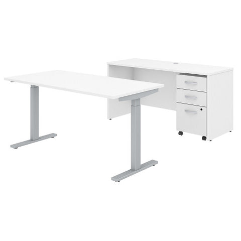 Bush Studio C 60W x 30D Height Adj Standing Desk, Credenza & Storage, White STC017WH ; UPC: 042976071684 ; Image 1