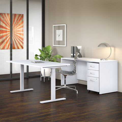 Bush Studio C 60W x 30D Height Adj Standing Desk, Credenza & Storage, White STC017WH ; UPC: 042976071684 ; Image 2