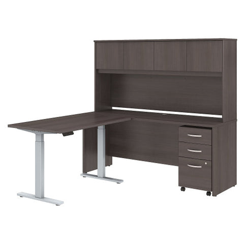 Bush Studio C 72W x 24D Desk, 48W Height Adj Return and Storage, Storm Gray STC018SG ; UPC: 042976071745 ; Image 1
