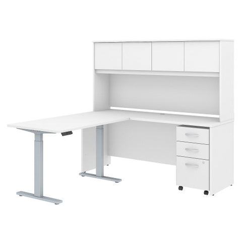 Bush Studio C 72W x 24D Desk, 48W Height Adj Return and Storage, White STC018WH ; UPC: 042976071721 ; Image 1