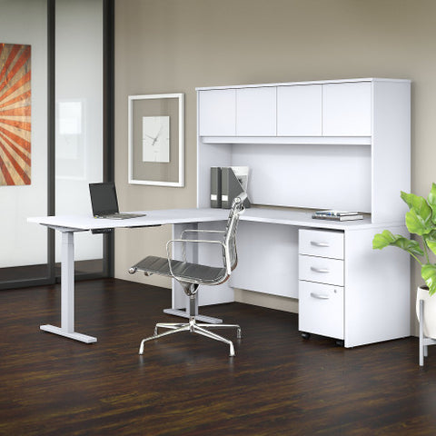 Bush Studio C 72W x 24D Desk, 48W Height Adj Return and Storage, White STC018WH ; UPC: 042976071721 ; Image 2