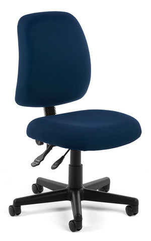 OFM Posture Series Model 118-2 Armless Swivel Task Chair, Fabric, Mid Back, Navy ; UPC: 811588012589 ; Image 1