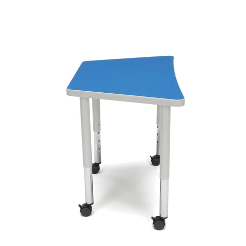 OFM Adapt Series Trapezoid Student Table - 20-28? Height Adjustable Desk with Casters, Blue (TRAP-SLC) ; UPC: 845123096383 ; Image 5