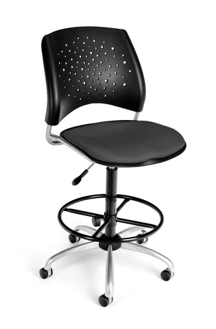 OFM Stars Series Model 326-DK Armless Fabric Swivel Task Chair and Drafting Kit, Slate Gray ; UPC: 845123013489 ; Image 1