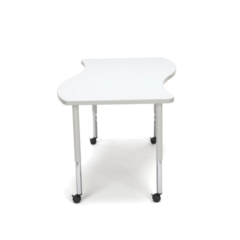 OFM Adapt Series Large Wave Standard Table - 25-33? Height Adjustable Desk with Casters, White (WAVE-L-LLC) ; UPC: 845123096178 ; Image 4