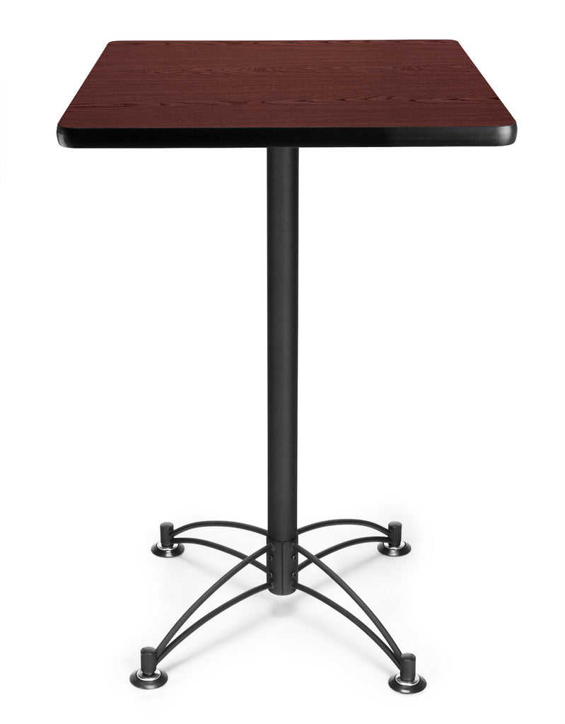 "OFM Model CBLT24SQ 24"" Square Cafe Height Table, Mahogany with Black Base ; UPC: 845123006498 ; Image 1"