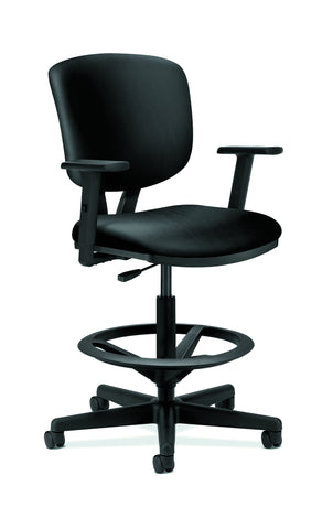 HON Volt Task Stool | Extended Height, Footring | Adjustable Arms | Black SofThread Leather ; UPC: 192767001038 ; Image 1