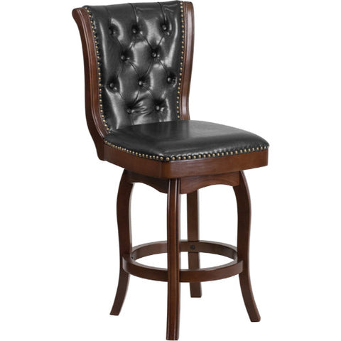Flash Furniture 26'' High Cappuccino Wood Counter Height Stool with Button Tufted Back and Black Leather Swivel Seat TA240126CAGG ; Image 1 ; UPC 889142062301