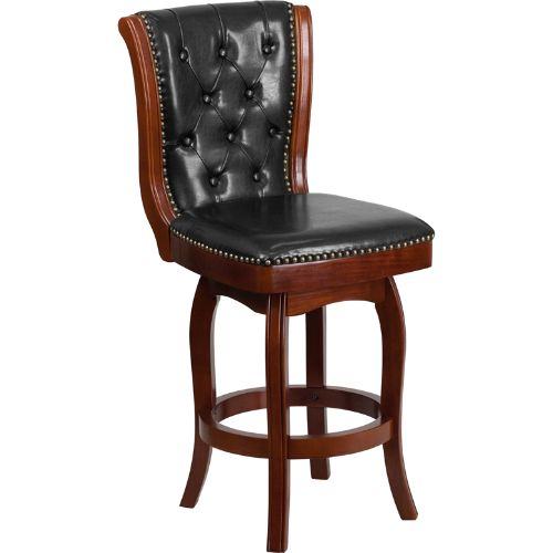 26'' High Cherry Wood Counter Height Stool with Black Leather Swivel Seat ; UPC: 889142060086 ; Color: Black, Cherry