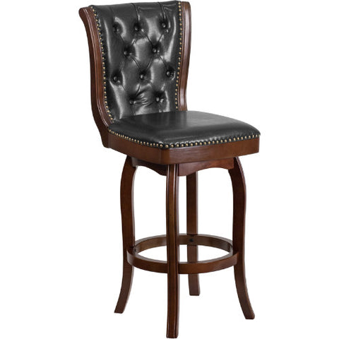 Flash Furniture 30'' High Cappuccino Wood Barstool with Button Tufted Back and Black Leather Swivel Seat TA240130CAGG ; Image 1 ; UPC 889142061908