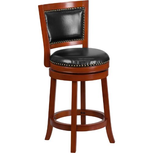 26'' High Light Cherry Wood Counter Height Stool with Black Leather Swivel Seat ; UPC: 889142061922 ; Color: Black, Cherry