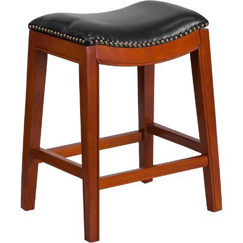 26'' High Backless Light Cherry Wood Counter Height Stool with Black Leather Seat ; UPC: 889142061977 ; Color: Black, Cherry