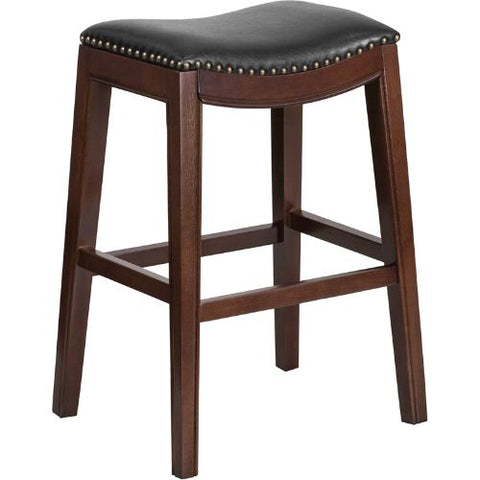 30'' High Backless Cappuccino Wood Barstool with Black Leather Seat ; UPC: 889142060130 ; Color: Black, Cappuccino