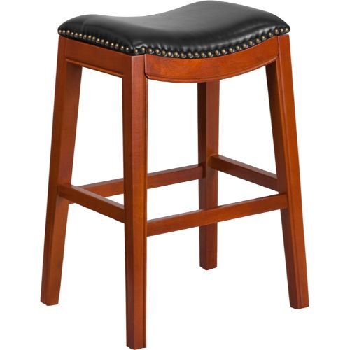 30'' High Backless Light Cherry Wood Barstool with Black Leather Seat ; UPC: 889142061984 ; Color: Black, Cherry