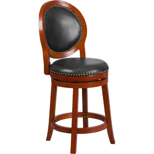 26'' High Light Cherry Counter Height Wood Barstool with Walnut Leather Swivel Seat ; UPC: 889142062004 ; Color: Cherry, Walnut