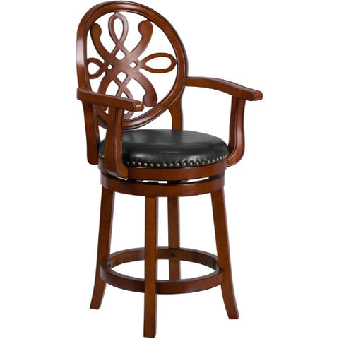Flash Furniture 26'' High Brandy Wood Counter Height Stool with Arms, Carved Back and Black Leather Swivel Seat TA550226BDYGG ; Image 1 ; UPC 889142062035