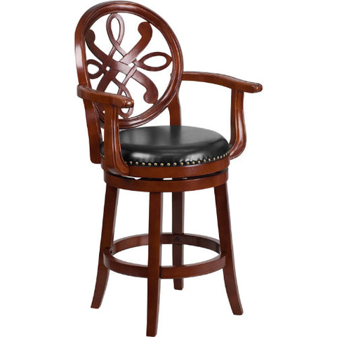 Flash Furniture 26'' High Cherry Wood Counter Height Stool with Arms, Carved Back and Black Leather Swivel Seat TA550226CHYGG ; Image 1 ; UPC 889142060147