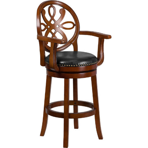 Flash Furniture 30'' High Brandy Wood Barstool with Arms, Carved Back and Black Leather Swivel Seat TA550230BDYGG ; Image 1 ; UPC 889142062042