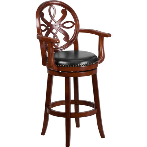 Flash Furniture 30'' High Cherry Wood Barstool with Arms, Carved Back and Black Leather Swivel Seat TA550230CHYGG ; Image 1 ; UPC 889142060154