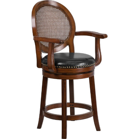 Flash Furniture 26'' High Expresso Wood Counter Height Stool with Arms, Woven Rattan Back and Black Leather Swivel Seat TA550426ECTRGG ; Image 1 ; UPC 889142062059