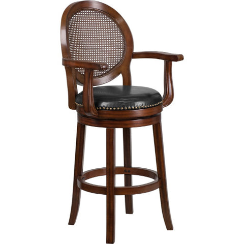 Flash Furniture 30'' High Expresso Wood Barstool with Arms, Woven Rattan Back and Black Leather Swivel Seat TA550430EGG ; Image 1 ; UPC 889142062066