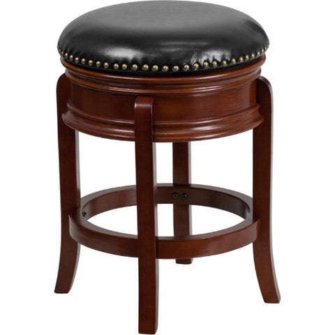 24'' Backless Light Cherry Wood Counter Height Stool with Black Leather Swivel Seat ; UPC: 889142062073 ; Color: Black, Cherry