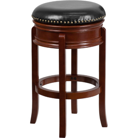 29'' Backless Light Cherry Wood Barstool with Black Leather Swivel Seat ; UPC: 889142062080 ; Color: Black, Cherry