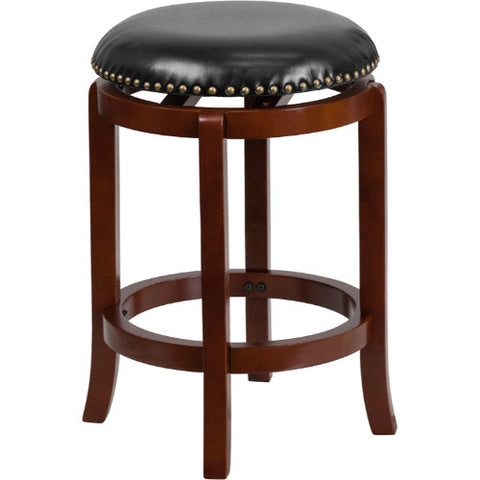 24'' Backless Light Cherry Wood Counter Height Stool with Black Leather Swivel Seat ; UPC: 889142062097 ; Color: Black, Cherry