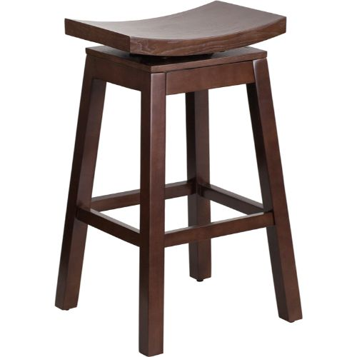 30'' High Saddle Seat Cappuccino Wood Barstool with Auto Swivel Seat Return ; UPC: 889142060161 ; Color: Cappuccino