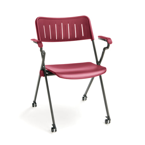 OFM Stanza Series Model 309-P Plastic Nesting Stack Chair with Arms, Burgundy ; UPC: 845123080580 ; Image 1