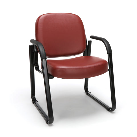 OFM Model 403-VAM Guest and Reception Chair with Arms, Anti-Microbial/Anti-Bacterial Vinyl, Wine ; UPC: 811588014187 ; Image 1