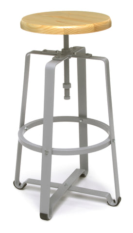 OFM 920-MPL Metal Stool with Maple Seat and Gray Legs ; UPC: 845123034385 ; Image 1