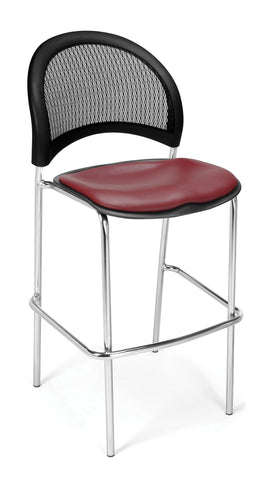 OFM 338C-VAM-603 Moon Cafe Height Vinyl Chrome Chair, Wine ; UPC: 845123021637 ; Image 1