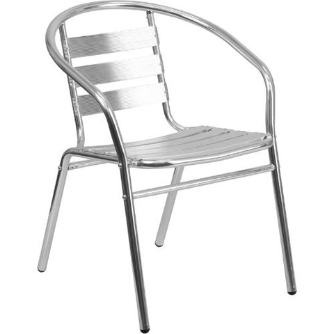 Aluminum Commercial Indoor-Outdoor Restaurant Stack Chair with Triple Slat Back ; UPC: 889142005520 ; Color: Aluminum