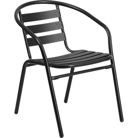 Black Metal Restaurant Stack Chair with Aluminum Slats ; UPC: 889142062134 ; Color: Black