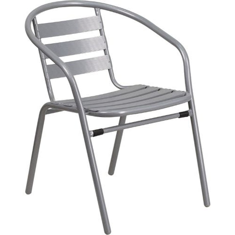Silver Metal Restaurant Stack Chair with Aluminum Slats ; UPC: 889142043669 ; Color: Silver