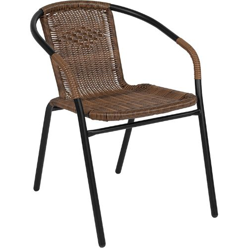 Dark Brown Rattan Indoor-Outdoor Restaurant Stack Chair ; UPC: 889142043690 ; Color: Black, Brown