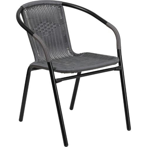 Gray Rattan Indoor-Outdoor Restaurant Stack Chair ; UPC: 889142043706 ; Color: Black, Gray