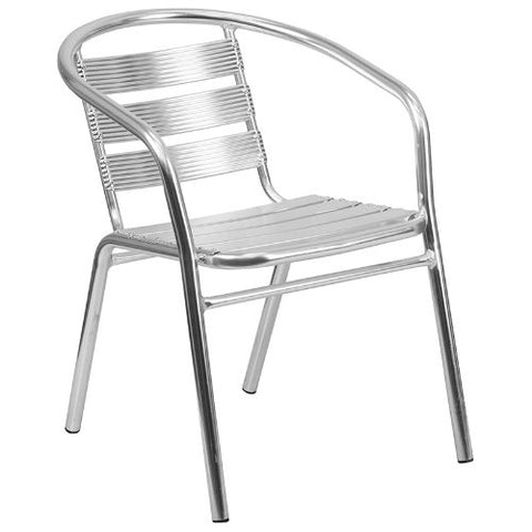 Heavy Duty Aluminum Commercial Indoor-Outdoor Restaurant Stack Chair with Triple Slat Back ; UPC: 889142020585 ; Color: Aluminum