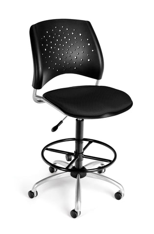OFM Stars Series Model 326-DK Armless Fabric Swivel Task Chair and Drafting Kit, Black ; UPC: 845123013526 ; Image 1