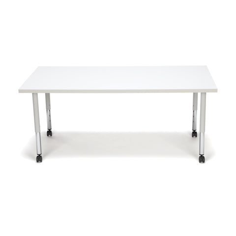 OFM Adapt Series Rectangle Student Table - 20-28? Height Adjustable Desk with Casters, White (RECT-SLC) ; UPC: 845123096659 ; Image 3