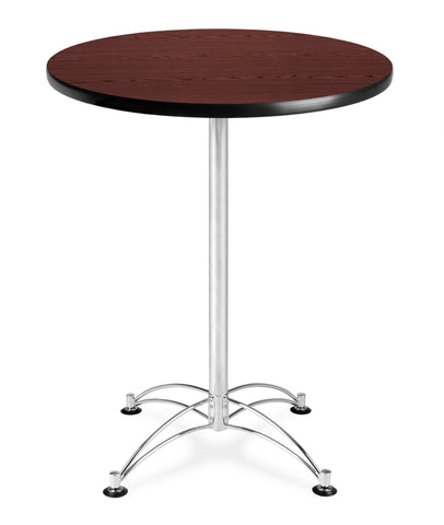 "OFM Model CCLT30RD 30"" Round Cafe Height Table, Mahogany with Chrome Base ; UPC: 845123006412 ; Image 1"