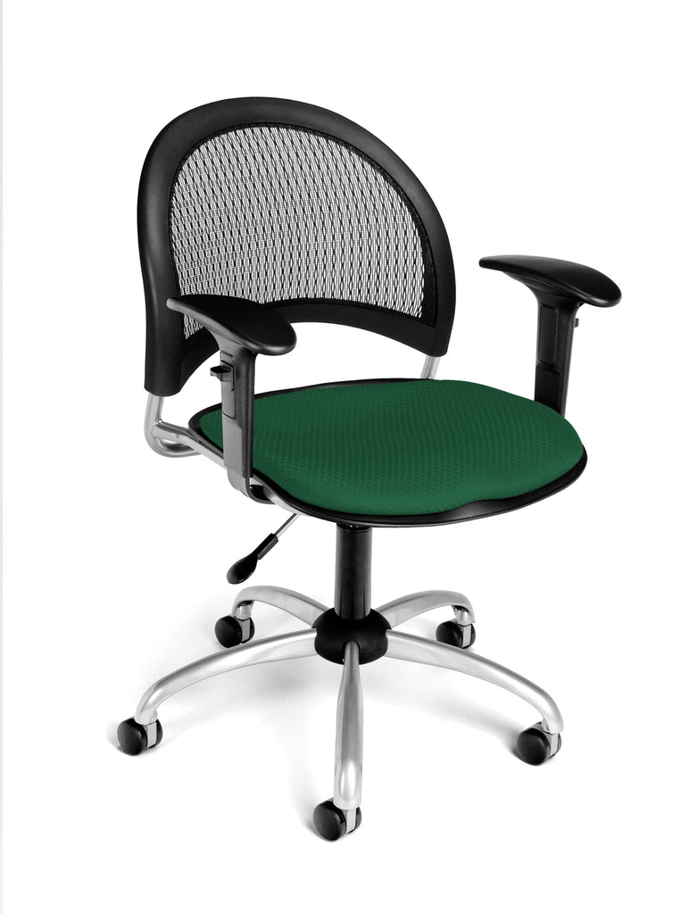 OFM 336-AA3-2221 Moon Swivel Chair with Arms, Forest Green ; UPC: 845123014073 ; Image 1