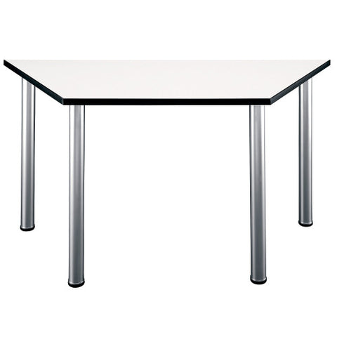 Bush Aspen Tables 57W x 24-3/4D Trapezoid Table, White Spectrum TS85203 ; UPC: 042976852030 ; Image 1