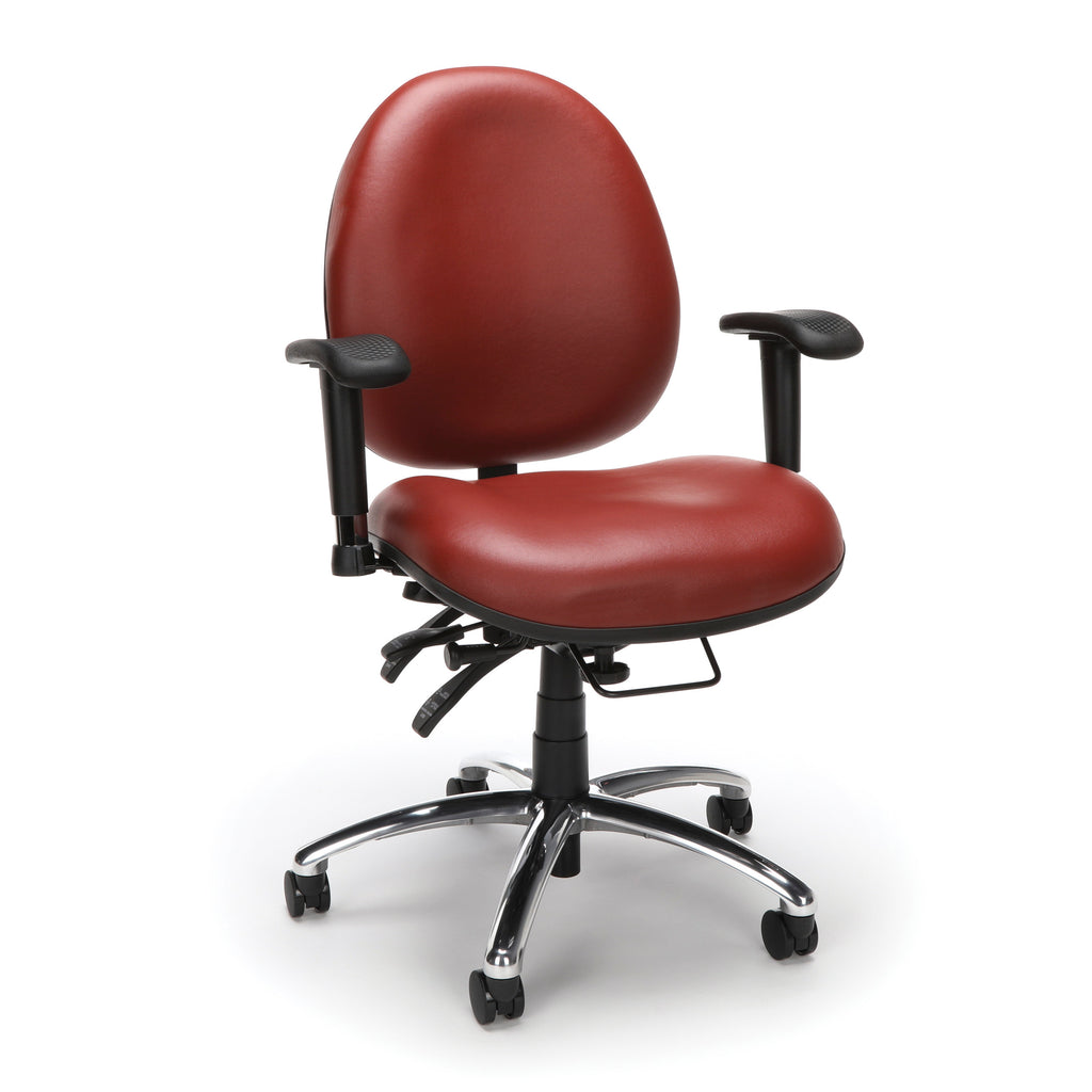 OFM Model 247-VAM 24 Hour Big and Tall Ergonomic Computer Swivel Task Chair with Arms, Anti-Microbial/Anti-Bacterial Vinyl, Wine ; UPC: 811588010295 ; Image 1