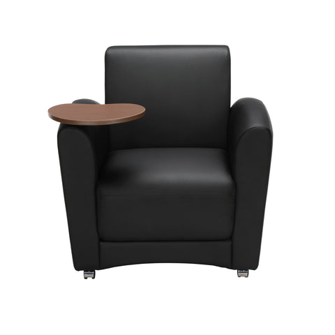 OFM InterPlay Series Single Seat Chair with Bronze Tablet, in Black (821-PU606-BRONZ) ; UPC: 845123031018 ; Image 2