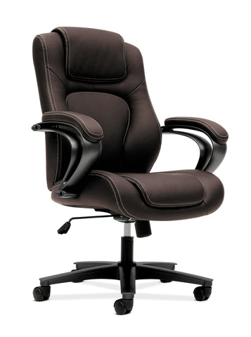 HON Managerial Office Chair- High-Back Computer Desk Chair with Loop Arms , Brown (VL402) ; UPC: 089191140658 ; Image 1